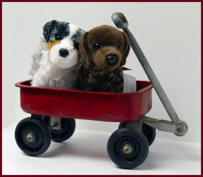 Stuffed Dogs and Wagon.